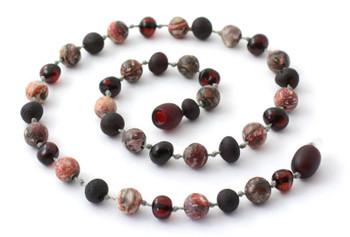 Necklace, Cherry Amber, Polished, Raw, Teething, Adult, Jewelry, Leopardskin, Gemstone, Jasper 2
