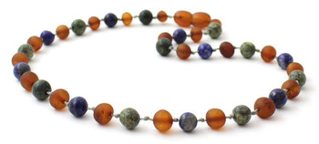 Green Lace Stone, Raw, Baltic Amber, Unpolished, Lapis Lazuli, Necklace, Teething