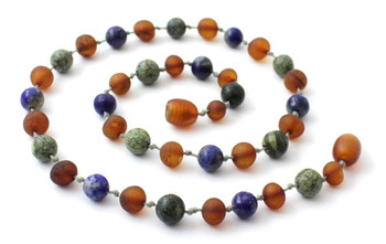 Green Lace Stone, Raw, Baltic Amber, Unpolished, Lapis Lazuli, Necklace, Teething 3