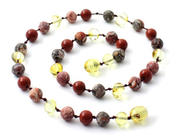Lemon Amber, Polished, Jewelry, Necklace, Red Jasper, Leopardskin, Gemstone 2