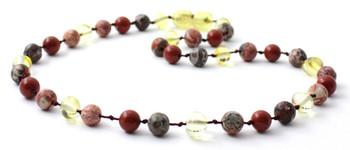 Lemon Amber, Polished, Jewelry, Necklace, Red Jasper, Leopardskin, Gemstone