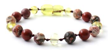 Leopardskin Jasper, Red Jasper, Lemon Amber, Bracelet, Anklet, Jewelry, Teething