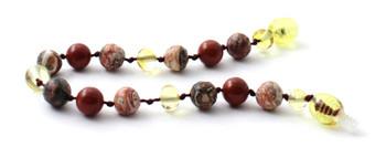 Leopardskin Jasper, Red Jasper, Lemon Amber, Bracelet, Anklet, Jewelry, Teething 2