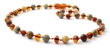 Necklace, Teething, Crazy Agate, Polished Cognac, Necklace, Gemstone