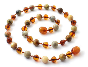 Necklace, Teething, Crazy Agate, Polished Cognac, Necklace, Gemstone 2