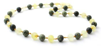 Lemon Amber, Baltic, Necklace, Raw, Unpolished, Green Lace Stone, Teething