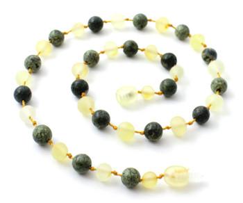 Lemon Amber, Baltic, Necklace, Raw, Unpolished, Green Lace Stone, Teething 2