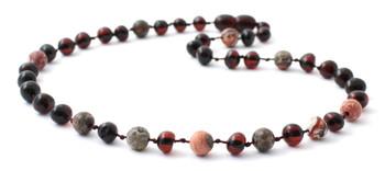 Necklace, Cherry Polished, Baltic Amber, Leopardskin Jasper, Gemstone, Teething