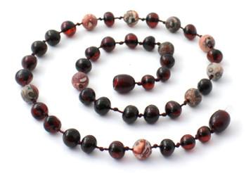 Necklace, Cherry Polished, Baltic Amber, Leopardskin Jasper, Gemstone, Teething 2