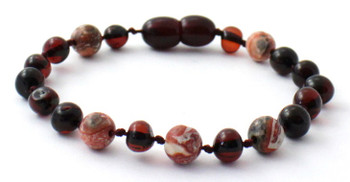 Anklet, Teething, Bracelet, Knotted, With Jasper Leopardskin, Baltic Amber, Jewelry