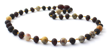 Baltic Amber, Raw, Cherry, Crazy Agate, Necklace, Jewelry, Teething, Unpolished