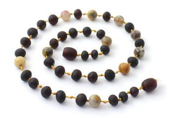 Baltic Amber, Raw, Cherry, Crazy Agate, Necklace, Jewelry, Teething, Unpolished 2