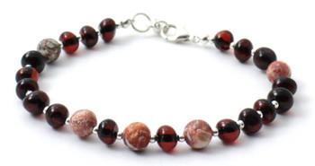 Sterling Silver 925, Bracelet, Cherry, Amber, Leopardskin Jasper, Polished, Baltic Jewelry
