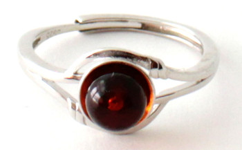 Silver, Ring, Amber, Baltic, Cognac, Round, Bead, Polished, Sterling 925, Adjustable
