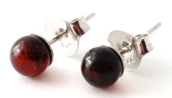Earrings, Stud, Amber, Studs, Cherry, Cognac, Polished, Jewelry, Baltic, Minimalist, Small 2