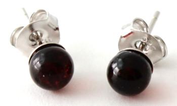 Earrings, Stud, Amber, Studs, Cherry, Cognac, Polished, Jewelry, Baltic, Minimalist, Small
