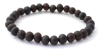 Jewelry, Cherry, Baltic, Unpolished, Amber, Raw, Stretch, Bracelet, Black, Round Beads