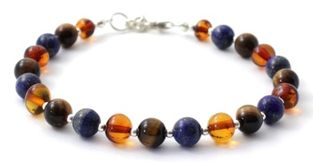 Sterling Silver, Cognac, Tiger Eye, 925, Amber, Jewelry, Bracelet, Baltic, Lapis Lazuli