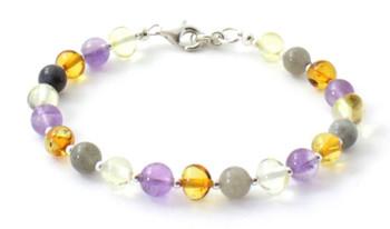 Labradorite, Mix, Multicolor, Amber, Bracelet, Amethyst, Sterling Silver 925, Beaded