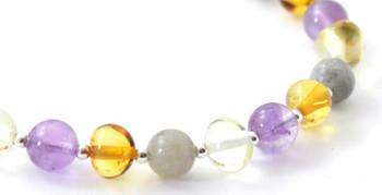 Labradorite, Mix, Multicolor, Amber, Bracelet, Amethyst, Sterling Silver 925, Beaded 2