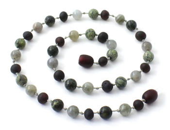 Labradorite, Unpolished Cherry, Green Lace Stone, Necklace, Teething, Baltic Amber 2