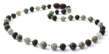 Labradorite, Unpolished Cherry, Green Lace Stone, Necklace, Teething, Baltic Amber
