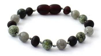 Labradorite, Raw Cherry, Anklet, Green Lace Stone, Unpolished, Bracelet, Grey, Amber