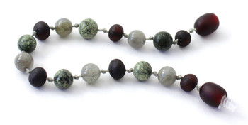 Labradorite, Raw Cherry, Anklet, Green Lace Stone, Unpolished, Bracelet, Grey, Amber 2