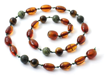 Bean, Cognac, Amber, Green Lace Stone, Amber, Baltic, Jewelry, Necklace, Tiger Eye 2