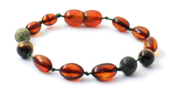 Tiger Eye, Bean, Cognac, Bracelet, Anklet, Green Lace Stone, Teething, Baltic, Olive