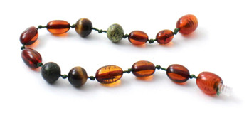 Tiger Eye, Bean, Cognac, Bracelet, Anklet, Green Lace Stone, Teething, Baltic, Olive 2
