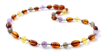 Smoky Quartz, Amber, Cognac, Baltic, Necklace, Teething, Amethyst, Citrine