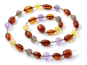 Smoky Quartz, Amber, Cognac, Baltic, Necklace, Teething, Amethyst, Citrine 2