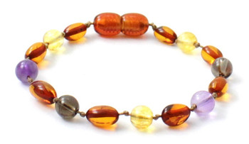 Cognac, Citrine, Bean, Anklet, Amber, Polished, Teething, Bracelet, Baby, Baltic
