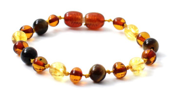 Citrine, Anklet, Gemstone, Bracelet, Polished, Cognac, Amber, Baltic, Teething, Knotted