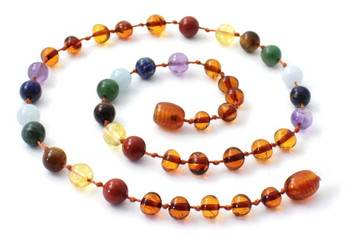 Necklace, Baltic, Beaded, Chakra, Polished, Cognac, Teething, Authentic, Kids 2