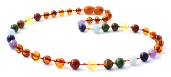 Necklace, Baltic, Beaded, Chakra, Polished, Cognac, Teething, Authentic, Kids