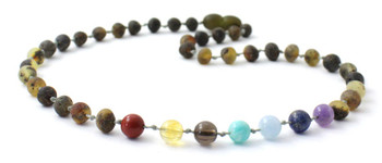 Amber, Gemstone, Necklace, Chakra, Raw, Unpolished, Green, Teething, Beaded