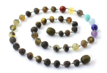 Amber, Gemstone, Necklace, Chakra, Raw, Unpolished, Green, Teething, Beaded 2
