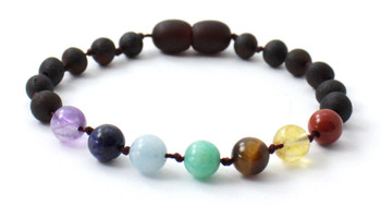 Amber, Anklet, Raw, Chakra, Bracelet, Knotted, Screw Clasp, Beaded, Unpolished