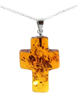 Pendant, Cross, Cognac, Amber, Jewelry, Baltic, Silver