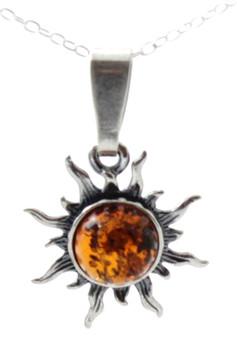 Pendant, Sun, Silver, Amber, Sterling 925, Baltic, Jewelry, Small, Minimalist