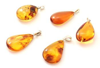 Pendant, Baltic Amber, Cognac, Silver, Free Shape, Random, Sterling 925, Jewelry