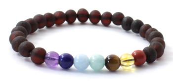 Gemstone, Chakra, Amber, Jewelry, Bracelet, Stretch, Raw, Cherry, Unpolished, Baltic