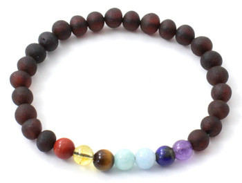 Gemstone, Chakra, Amber, Jewelry, Bracelet, Stretch, Raw, Cherry, Unpolished, Baltic 2