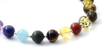 Amber, Bracelet, Green, Chakra, Gemstone, Silver, 925, Sterling, Beaded, Polished, Baltic 2