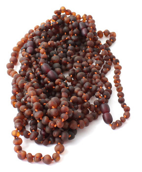 Cognac, Teething, Amber, Necklace, Children, Jewelry, Raw, Unpolished, Baroque