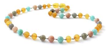 Necklace, Amber, Unpolished, Raw, Honey, Amazonite, Gemstone, Sunstone, Labradorite