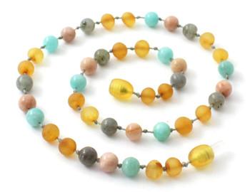 Necklace, Amber, Unpolished, Raw, Honey, Amazonite, Gemstone, Sunstone, Labradorite 2