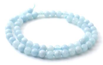 Beads, Aquamarine, Strand, Loose, Round, 6 mm, 6mm, Blue, Natural, Gemstone